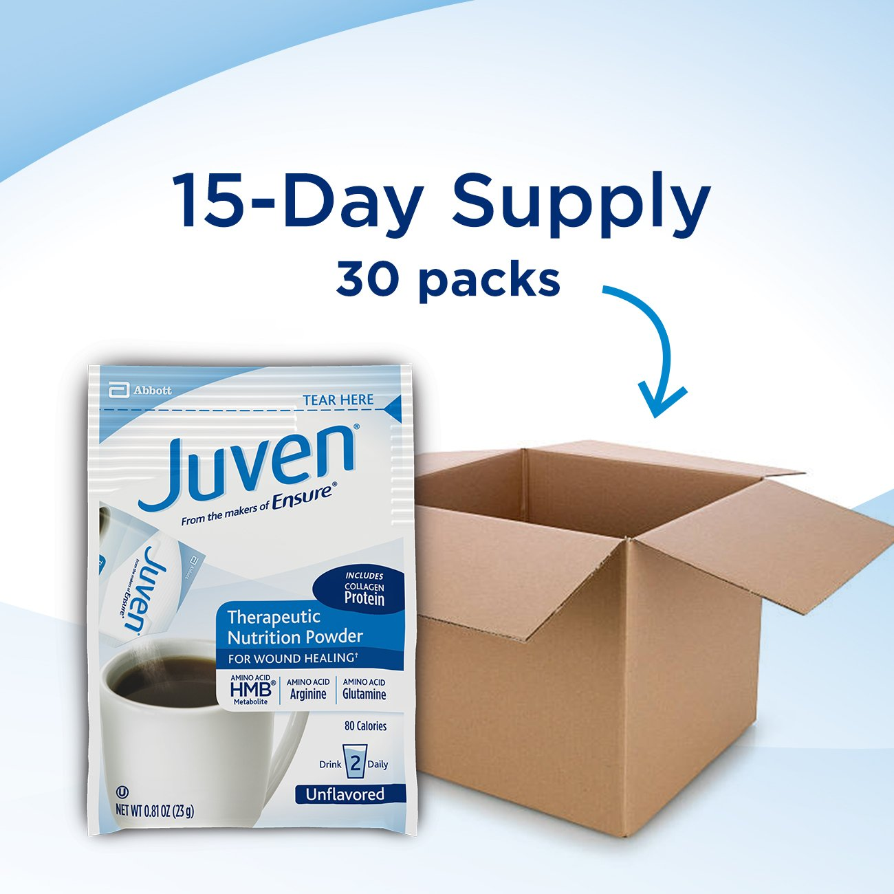 Juven Therapeutic Nutrition Drink Mix Powder for Wound Healing Includes Collagen Protein, Unflavored, 30 Count by Juven (Image #7)