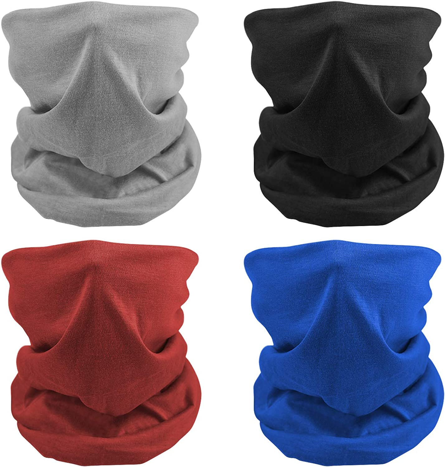 MENOLY 4Pcs Cooling Neck Gaiter Summer Face Cover Neck Scarf Bandanas Neck Wraps Balaclava Head Wrap for Men and Women Sports Yoga Fishing Cycling Running Hiking Camping