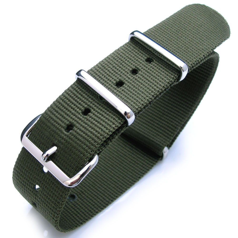 Nato 22mm Heat Sealed Heavy Nylon Polished Buckle - Forest Green