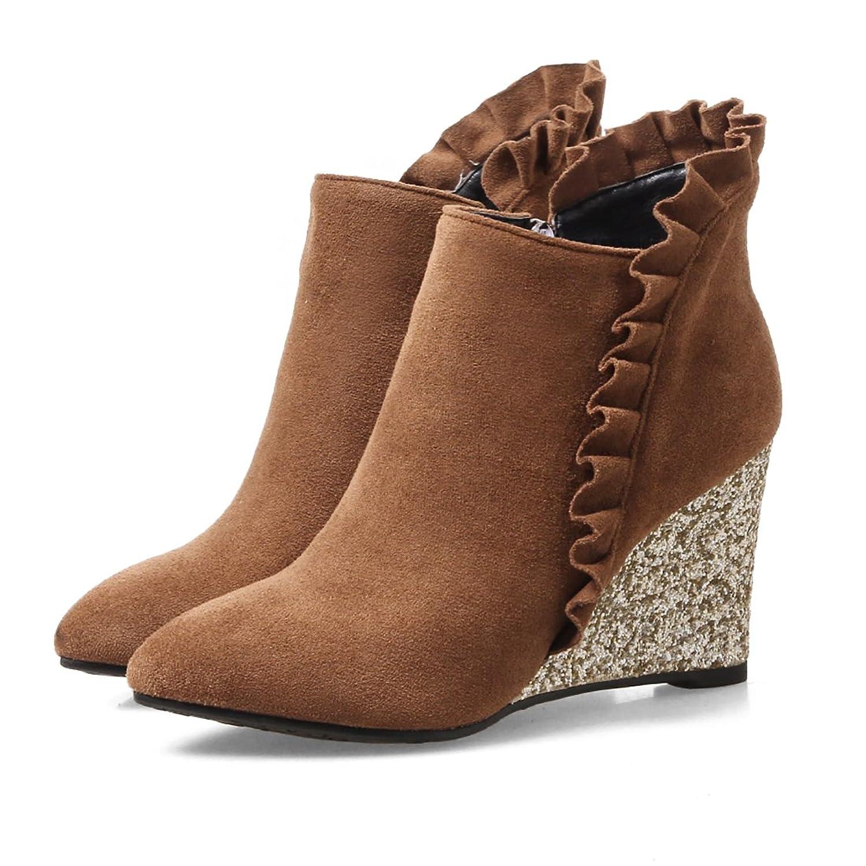 c384674dd46a53 Damen Keilabsatz Ankle Boots Spitze Stiefeletten mit Pailletten Bequeme  Herbst Winter Schuhe UH Neuesten Kollektionen Zu
