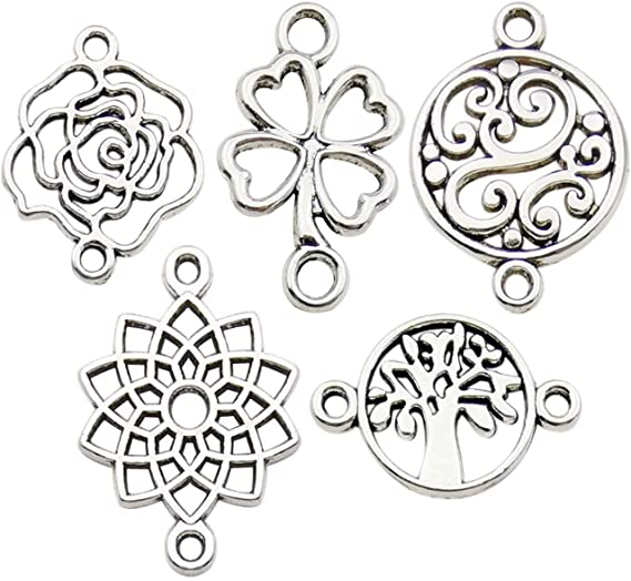 Gold Charm Matte Silver Circle Oriental Connector JL81667 Earring Findings and Supplies Jewelry Findings Flower Pendant 2 pc