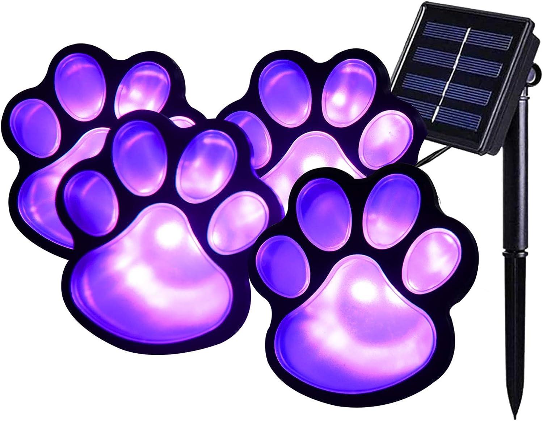 Elnsivo Solar Paw Print Lights, Purple Lights Halloween Decor, Solar Lights Outdoor Dog Cat Puppy Animal Garden Lights for Patio,Yard,Any Pet Lover (Solar Purple paw)