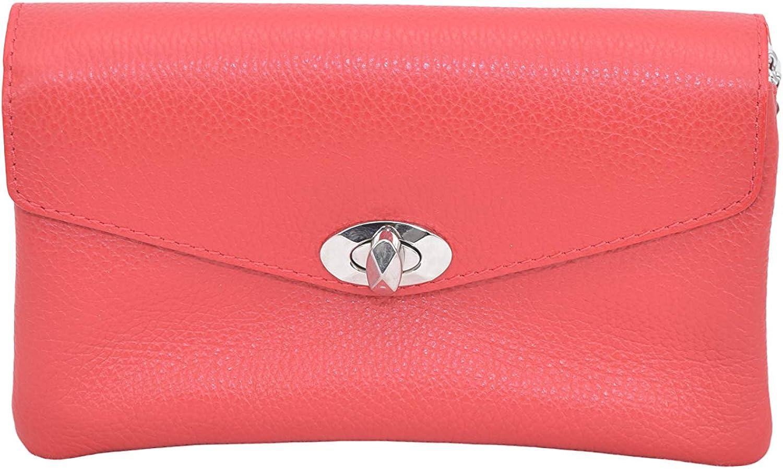 A to Z Leather Clutch compacto con dos compartimentos con cremallera y una larga cadena plateada desmontable Rojo