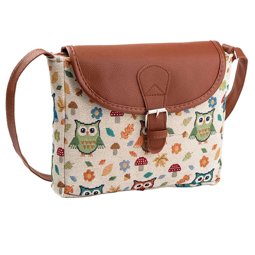 Volyer Girls Canvas Shoulder Bag Embroidered Owl Handbag