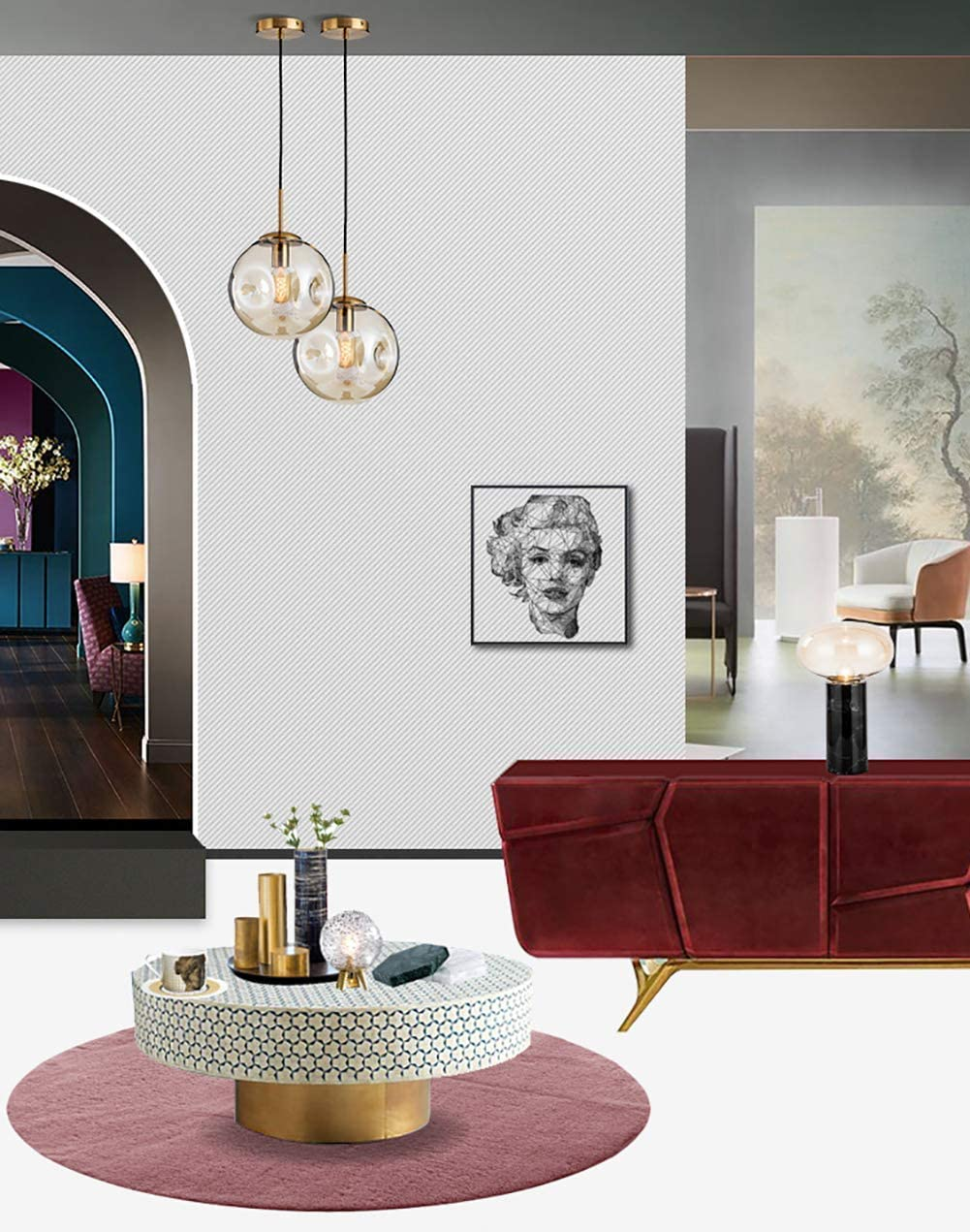 TMPJJ Modern Glass Chandeliers Luxuriöse Hängelampe von Kitchen Island Hanging Lighting im Industrieloft Half-Flush Deckenleuchte mit 2 Leuchten aus c-Amber 2-hell-b-rauchgrau