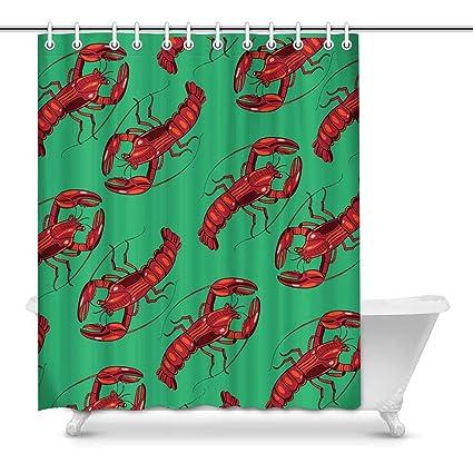 Amazon INTERESTPRINT Green Lobster Bathroom Decoration Decor