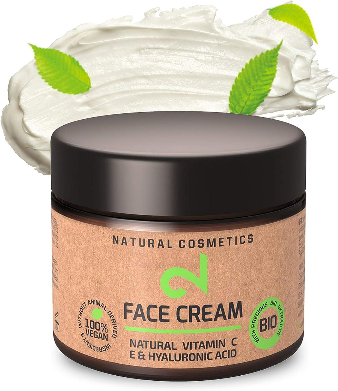 DUAL Day & Night Face Cream|Crema Facial Hidratante Para Noche y Día 100% Natural, Vegana Con Microalgas y Brócoli|Fuente de Vitamina C, Ácido Hialurónico|Anti-edad|Certificado|50ml|Hecho en Alema