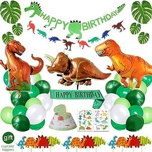 Dinosaur Birthday Decorations Party Supplies Included Birthday Banner Hat Sash Dinosaur Balloons for Boys Kids Birthday Decor