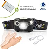 USB Rechargeable LED Headlamp Flashlight With 3 Modes Induction switch-Super Bright,Waterproof,Impact Resistant,LightWeight,Comfortable,Running,Walking,Camping, Reading, Hiking & More, Cable Included