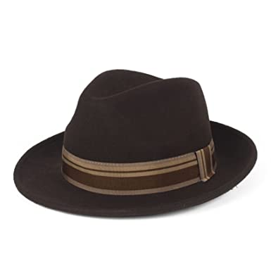 bea6547d36114 Stylish Brown 100% Wool Fedora Hat Waterproof   Crushable