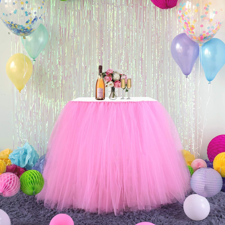 baby shower y decoraci/ón del hogar Falda de tut/ú de tul esponjosa con adhesivo m/ágico mantel de tul para fiesta DishyKooker boda