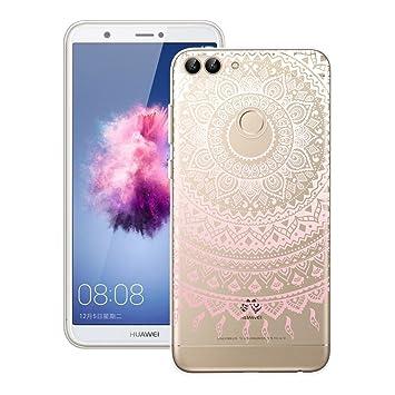 Yokata - Carcasa para Huawei P Smart (también conocido como Enjoy 7S) de silicona transparente, flexible, con diseño de mandala de color rosa