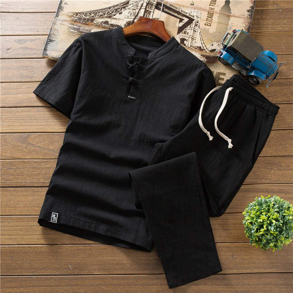 Fashionhe Summer New Tops Fashion Male T-Shirt Cotton and Linen Short Sleeve Tees Set Suit Tracksuit Shirt