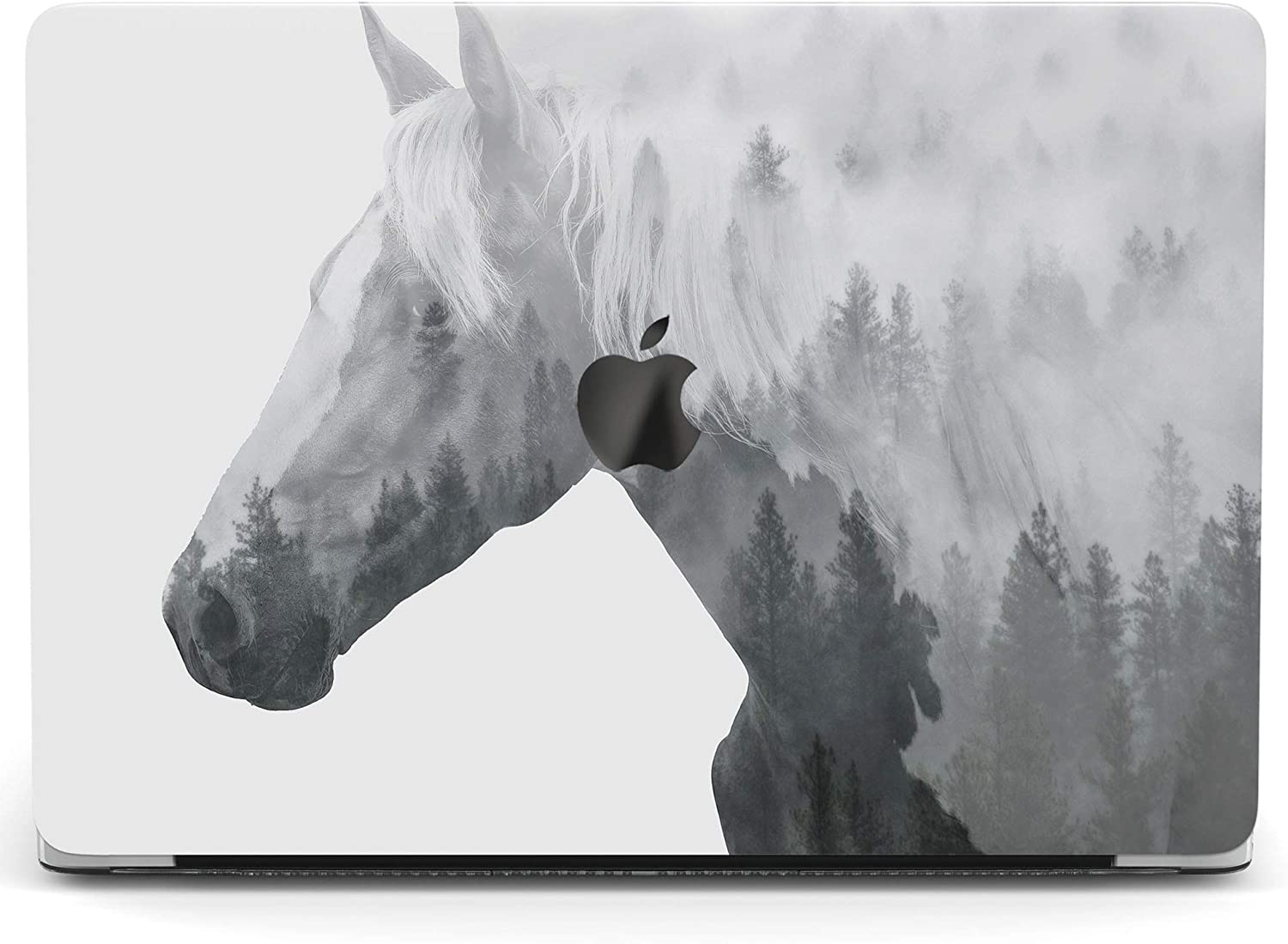 Wonder Wild Case For MacBook Air 13 inch Pro 15 2019 2018 Retina 12 11 Apple Hard Mac Protective Cover Touch Bar 2017 2016 2020 Plastic Laptop Print Abstract Horse Gray Forest Tree Nature Foggy Animal