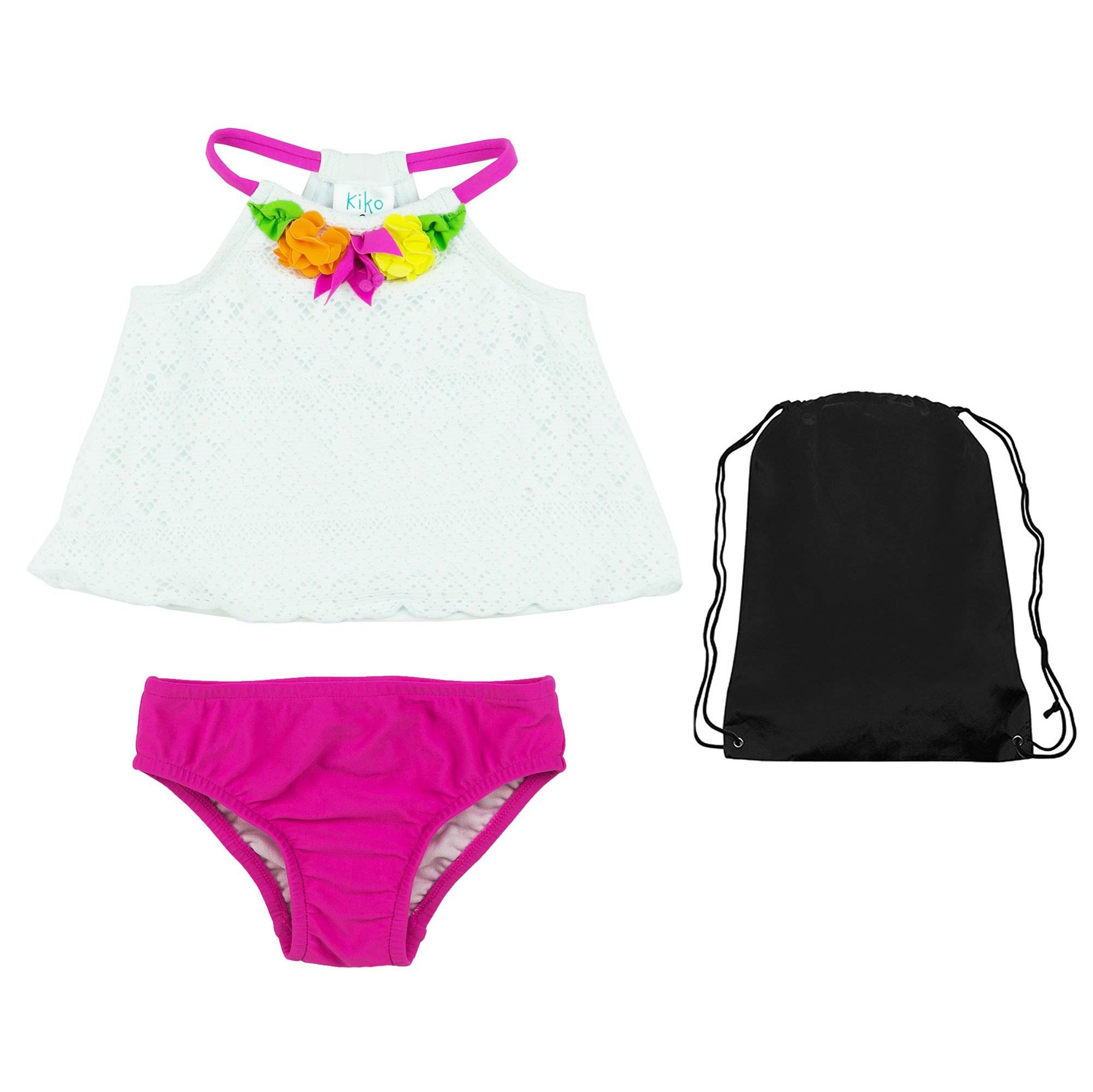 Kiko & Max 2 Piece Tankini White Eyelet Lace and Pink Floral Swimsuit with Bag 5