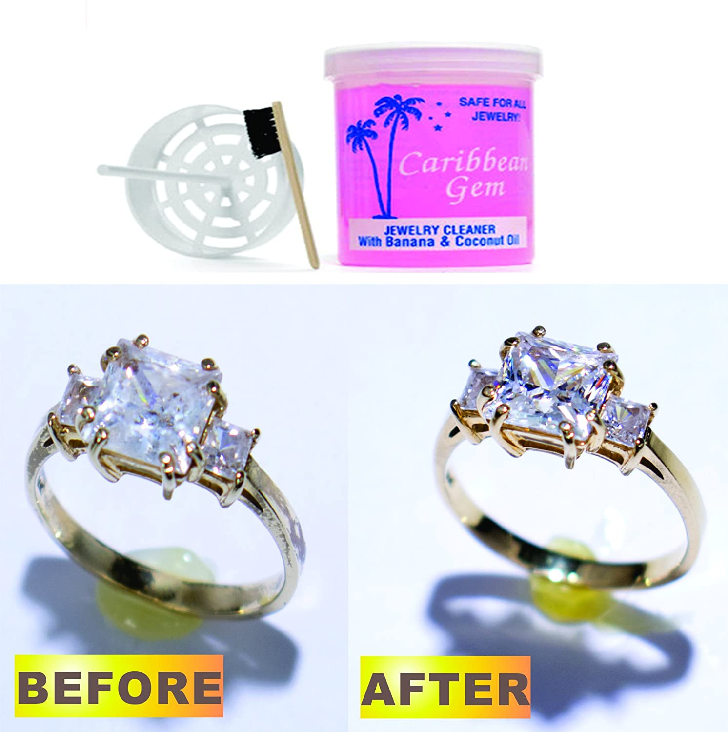 Amazon: Caribbean Gem Banana & Coconut Oil Jewelry Cleaner 16oz Refill:  Jewelry Cleaning And Care Products: Jewelry