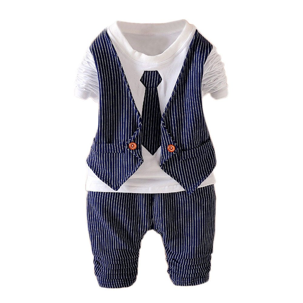2Pcs Toddler Boys Clothes Outfit Kids Baby Boy Wedding Formal Suits Outfits Sets Nave Blue XL(3-4Years) 110