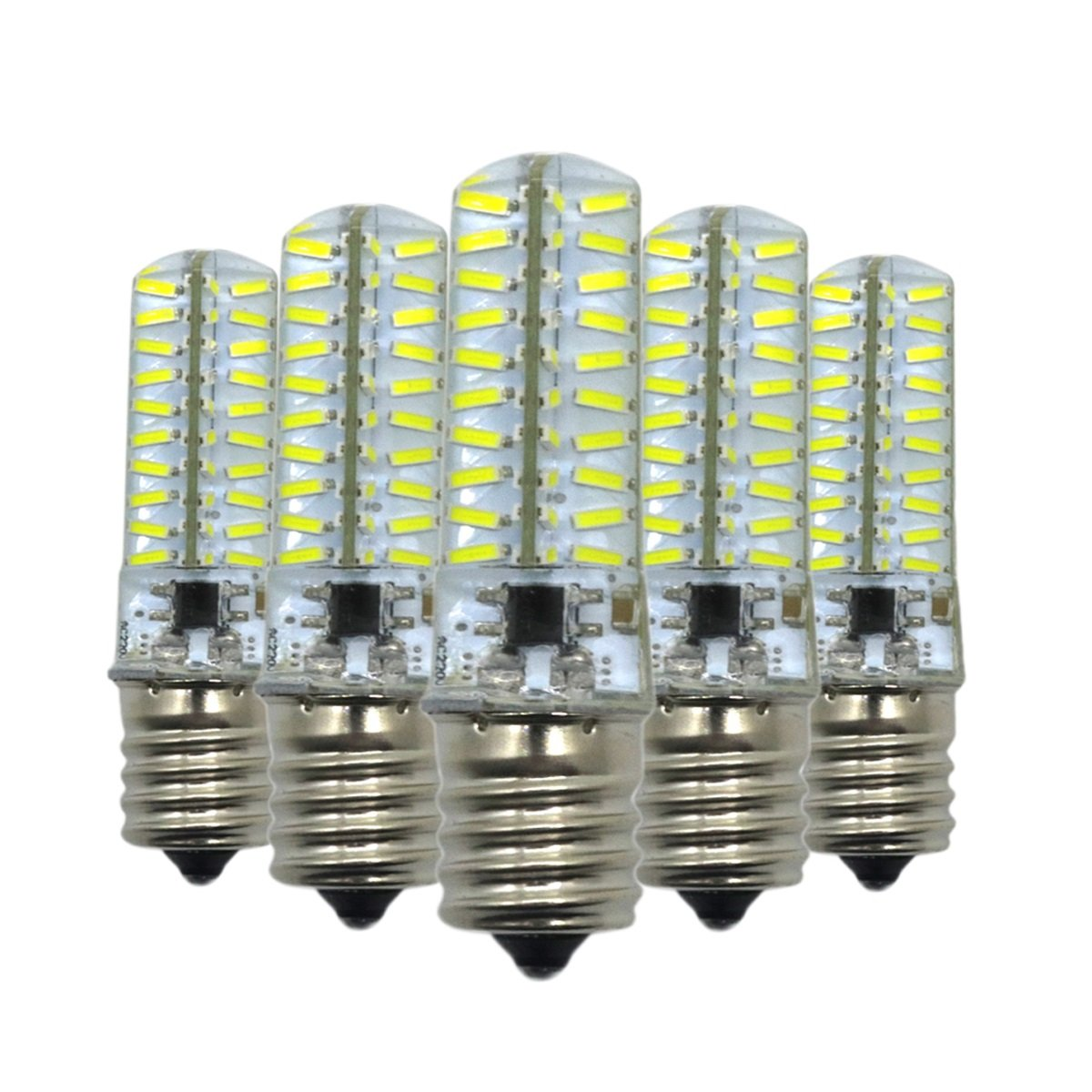 110V Cool White 110V Cool White LL Dimmable E17 LED Bulb 5W Bi-Pin 80×4014SMD Silicone Crystal Corn Bulb Super Bright LED Silicone Light Crystal 360° Beam Angle 110V 220V Pack of 5 (color   110V, Size   Cool White)