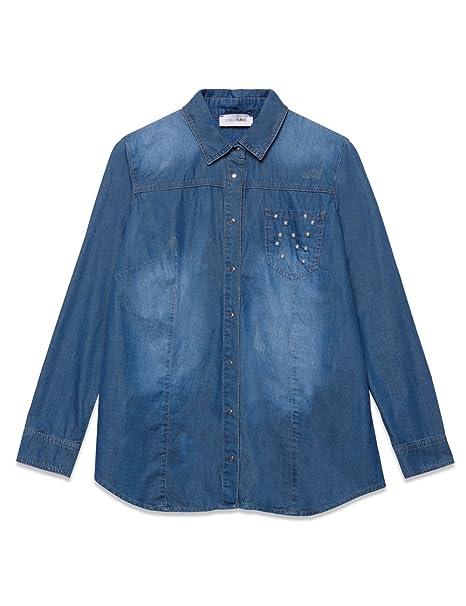 494ba51f26 Fiorella Rubino : Camicia in Denim con Borchie Maniche Lunghe. 100% Cotone  (Italian Plus Size)