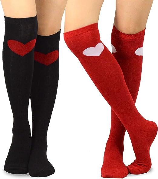Fashion Women Girls Mid tube Socks Cute Red Heart Printed Ladies Casual Socks ##