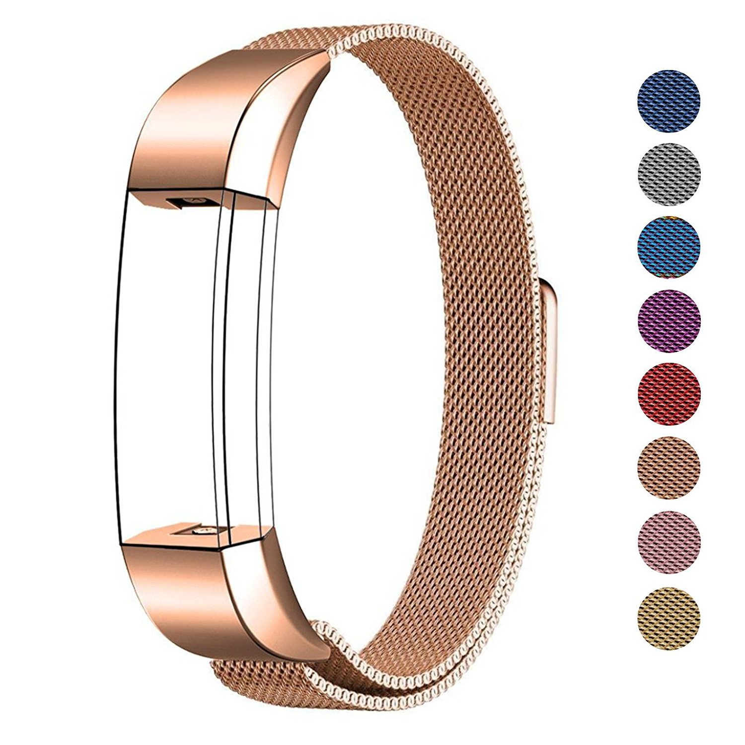 "Swees For Fitbit Alta HR and Alta Band Metal Small & Large (5.5"" - 9.9""), Milanese Stainless Steel Replacement Band for Fitbit Alta HR and Alta Women Men, Silver, Black, Rose Gold, Colorful, Champagne"