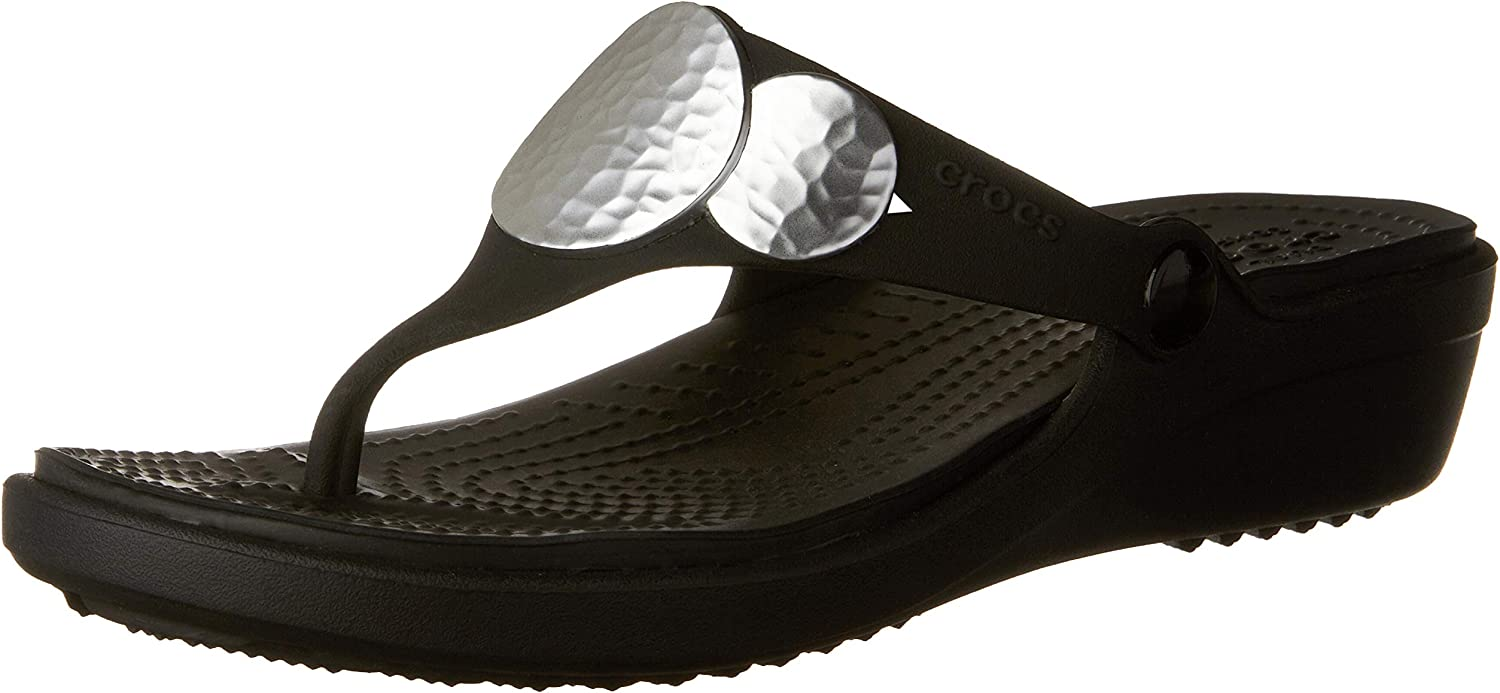 Crocs Women's Sanrah Embellished Flip Wedge