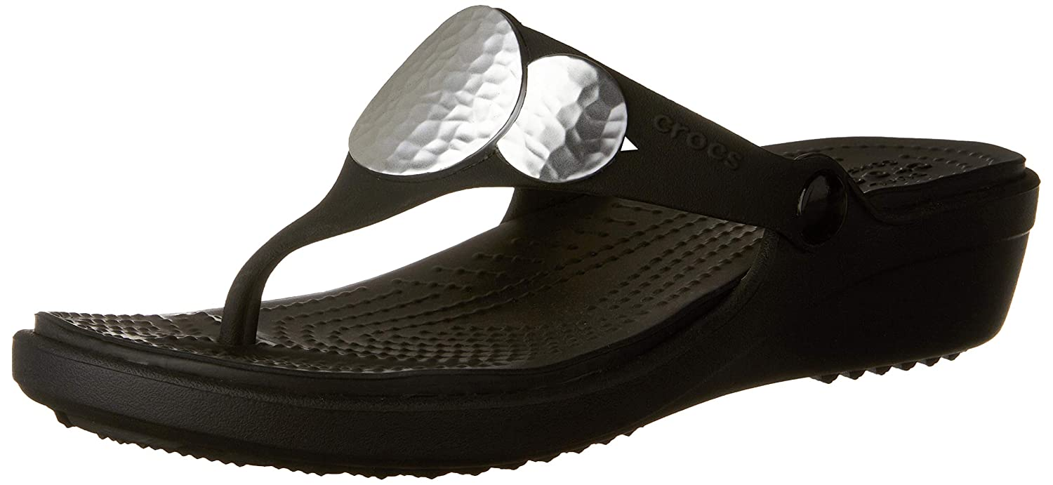 bb0ff09a156d Crocs Women s Sanrah Embellished Flip Wedge Sandal  Amazon.co.uk  Shoes    Bags