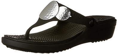 ca1b2e28ea7b crocs Women s Sanrah Embellished Wedge Flip Black or Silver Metallic  Fashion Sandals - 4 UK