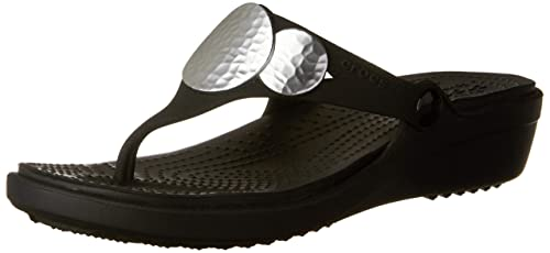 419f77459522b crocs Women s Sanrah Embellished Wedge Flip Black or Silver Metallic  Fashion Sandals-4 UK
