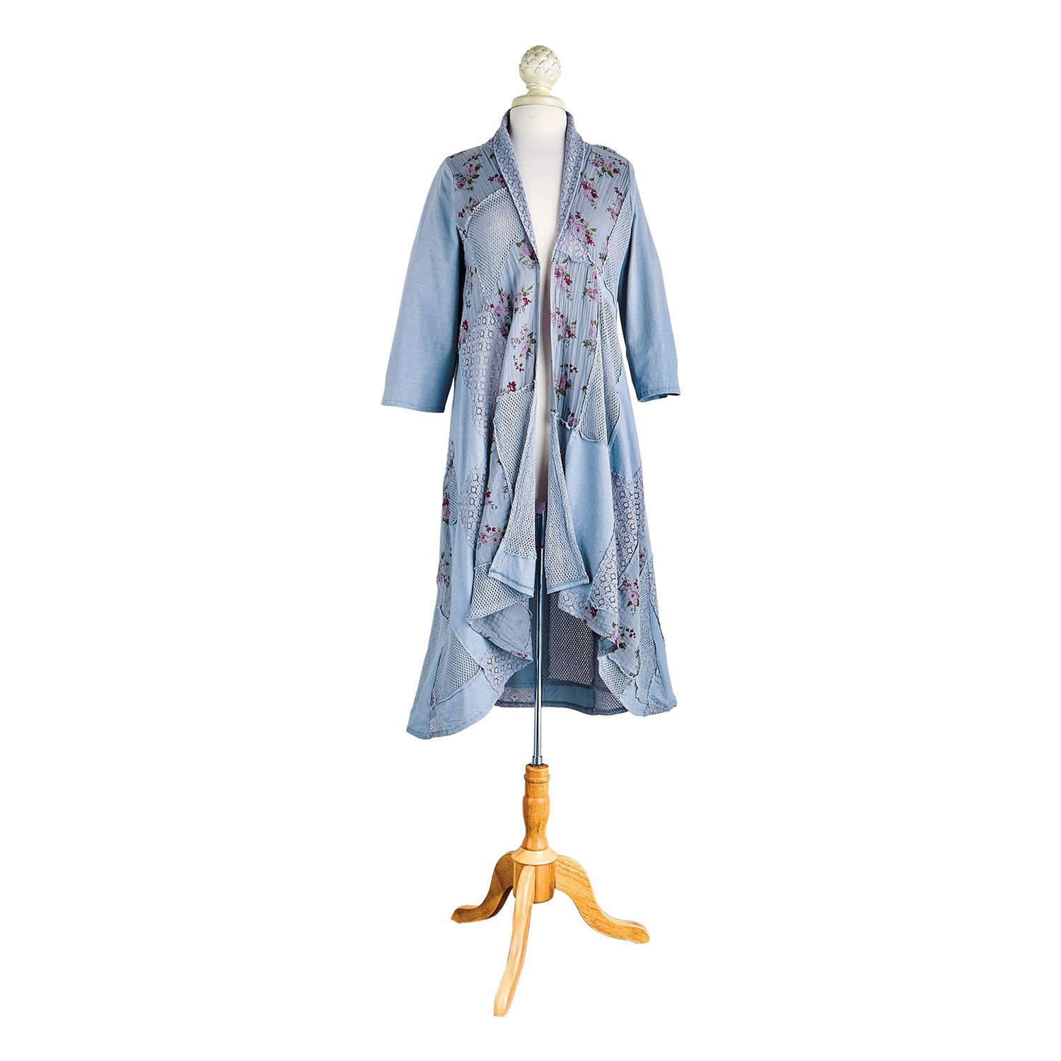 43b5748fe5 CATALOG CLASSICS Women s Long Fashion Jacket - Open Front Duster with 3 4  Sleeves - Blue - Small at Amazon Women s Clothing store