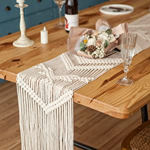 Mkono Macrame Table Runner Woven Wedding Table Decor Handmade Boho Table Linen with Tassels Vintage Farmhouse Home Decoration for Dining Room Wedding Kitchen Party Christmas Ornaments, 82 Inch