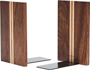 pandapark Wood Bookends,Nature Coating,Decorative Bookend,6''X4'',1Pair in Pack, (Walnut Artist)