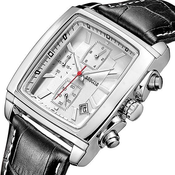 Relojes para Hombre Moderno, Reloj Rectángulo Blanca, Relojes Militar de Lujo de Cuero Negro con Calendario Reloj de Pulsera de Cuarzo para Hombres, ...