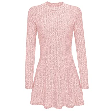 15897e1b977389 ZEARO Damen Strickkleid Knielang Herbst Winter Kleid Schlank Bequem Warm:  Amazon.de: Bekleidung