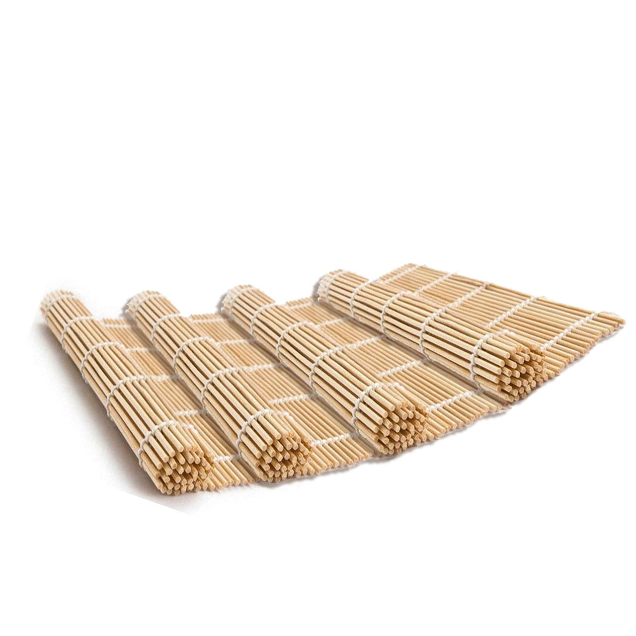 Easy Plants SET OF 4 JAPANESE STYLE SUSHI ROLL MAKER BAMBOO ROLLING ROLLER MAT PREPARATION EQUIPMENT 9.5 x 9.5Inch
