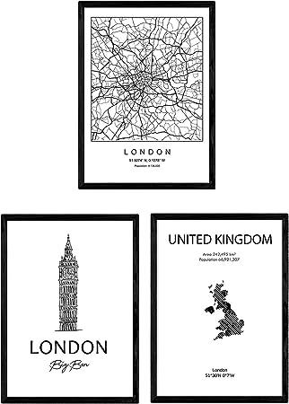 Pack de Posters de Paises y monumentos. Mapa Ciudad Londres United ...