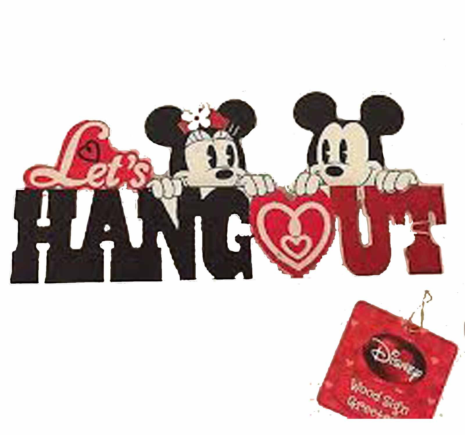 Mickey Mouse & Minnie Mouse Let's Hang Out Tabletop Valentine Wood Sign Greeter