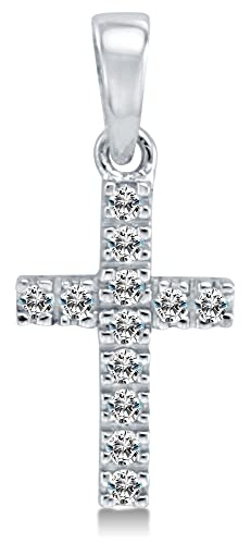 Solid 14K White Gold Small Tiny Classic Traditional Cross Round Shape Brilliant Cut CZ Ladies Pendant Charm Height 1 2 , Width 1 4