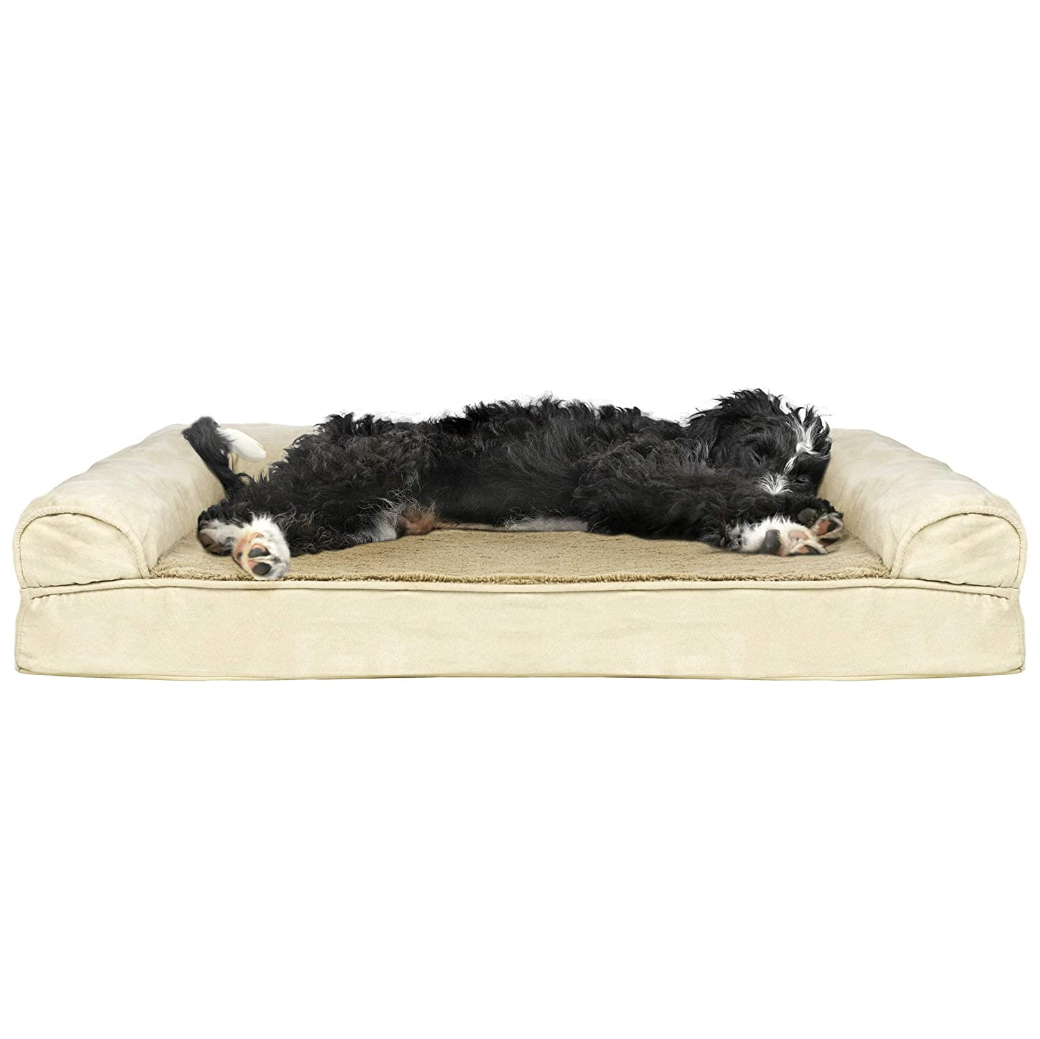 Furhaven Pet Dog Bed Orthopedic Sofa-Style Living Room Couch Pet Bed for Dogs Cats – Available in Multiple Colors Styles Renewed
