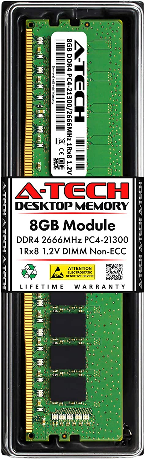 A-Tech 8GB DDR4 2666MHz DIMM PC4-21300 UDIMM Non-ECC 1Rx8 1.2V CL19 288-Pin Desktop Computer RAM Memory Upgrade Module