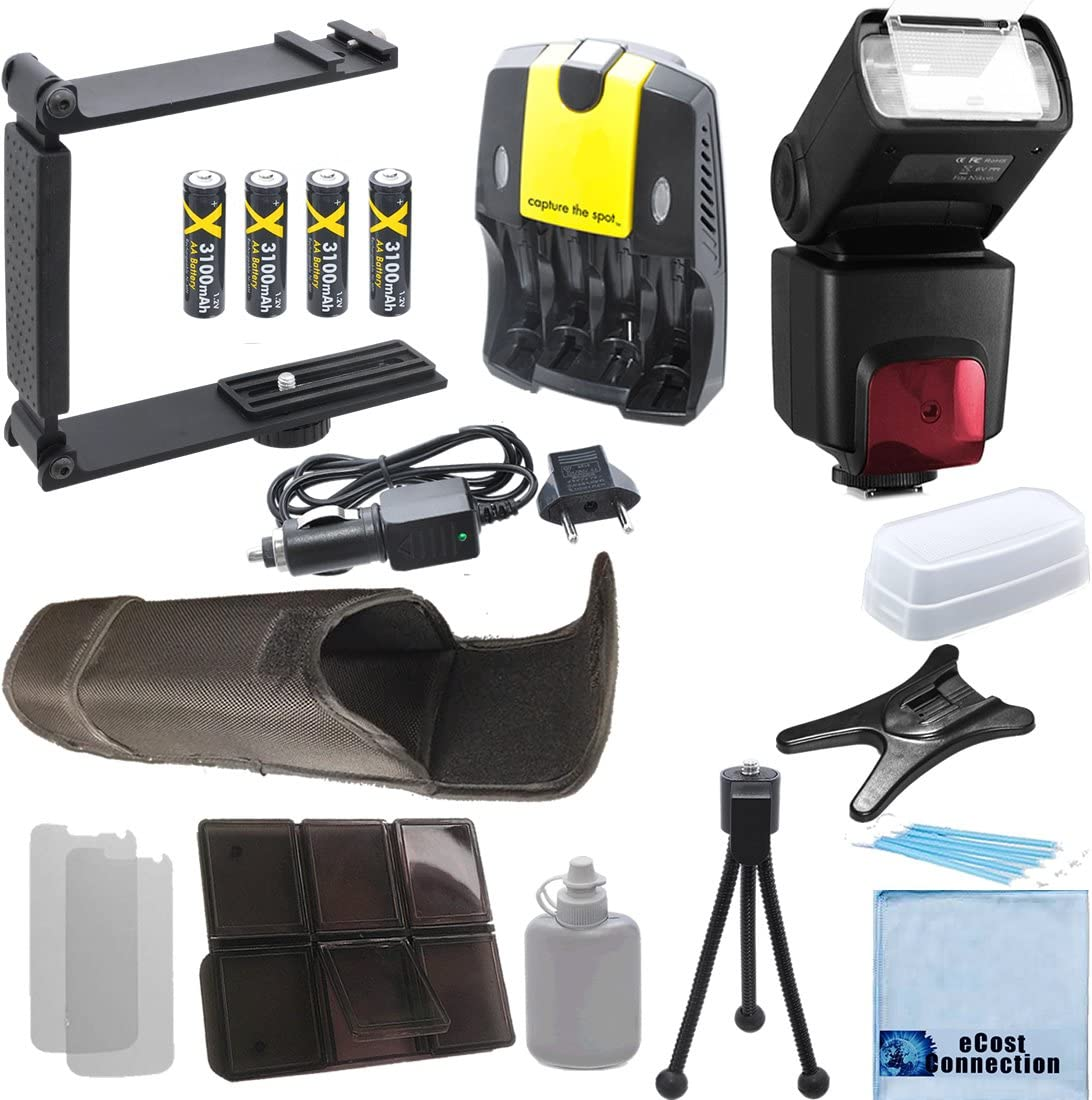 4 AA Battery Charger Universal Mini Portable Folding Bracket Deluxe Accessories Kit for Nikon D7000 D7100 D7200 D600 D610 D700 D800 D90 D5300 DSLR Pro Series Digital SLR Auto-Focus//Auto Power Zoom TTL Flash w//LCD Display