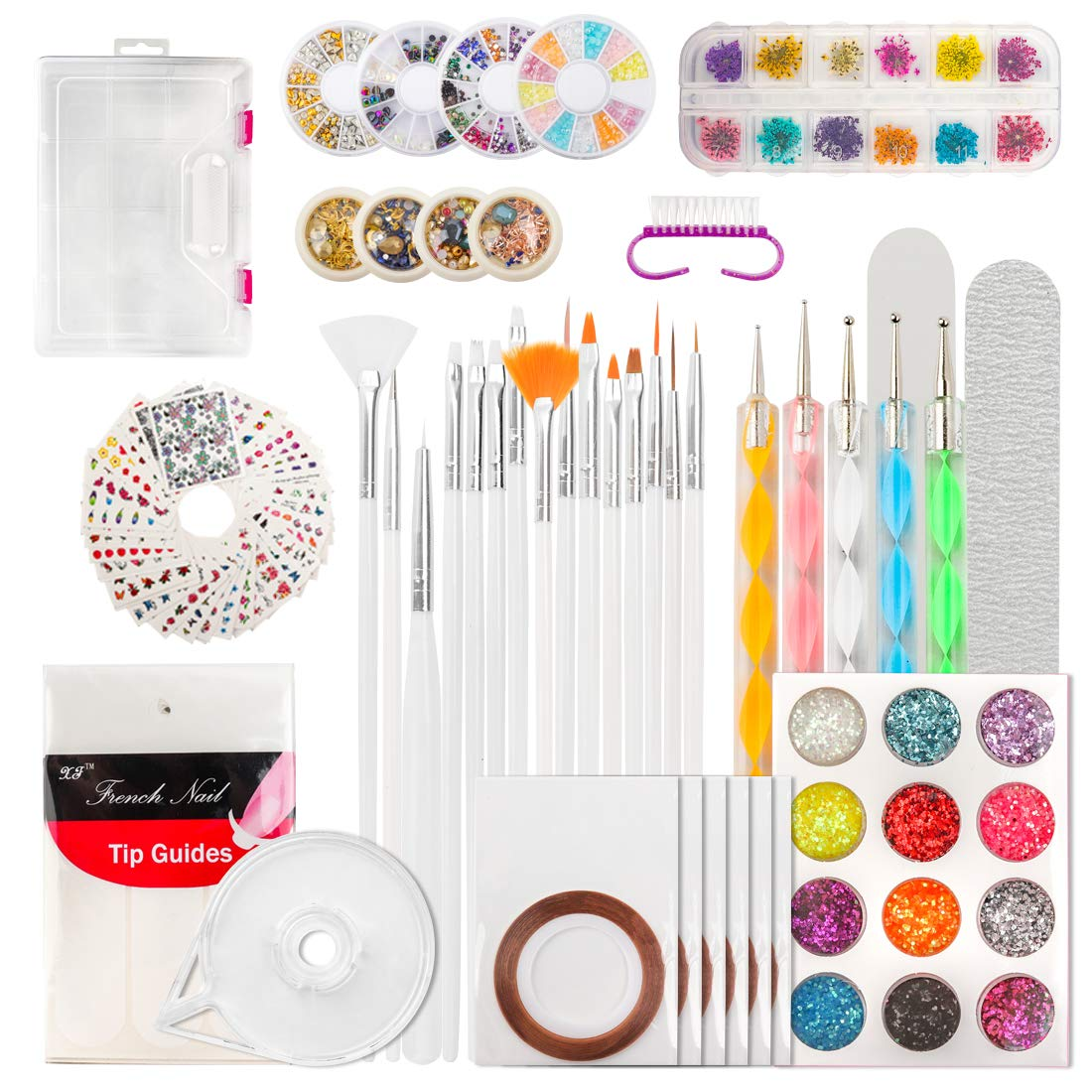 124 Tips Nail Art Kit, Yokilly DIY Nail Decoration Supplies Kit, Glitter Rhinestones, Nail Tip Line Sticker Decal, Dotting Pen, Nail Dried Flowers, Clean Brush, Nail Design Supplies with Gift Box by AMAR Beauty
