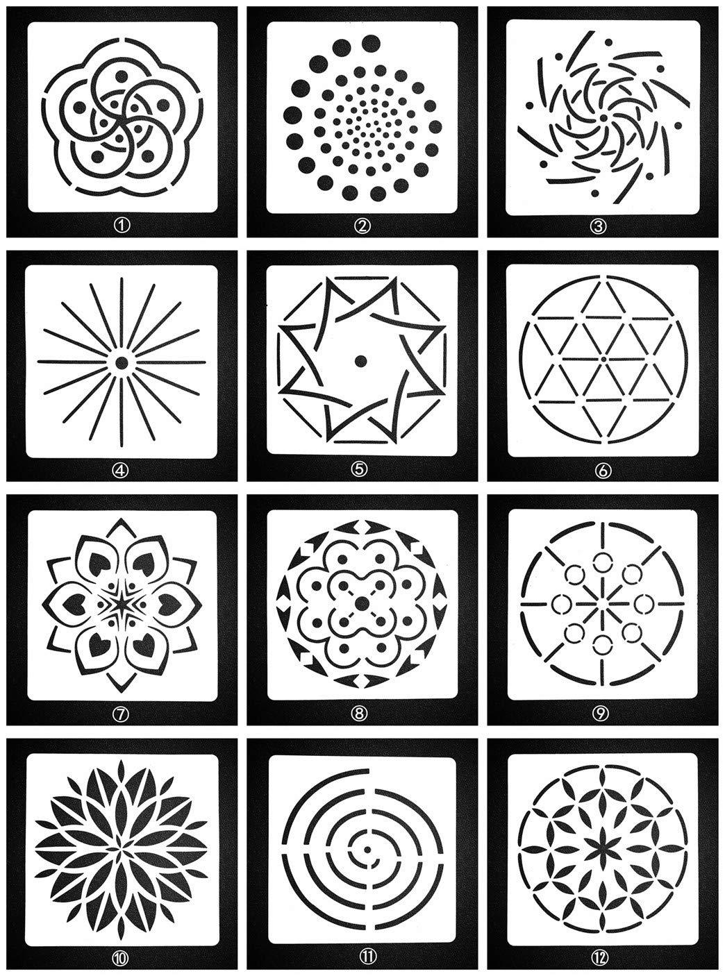 Lirener 12 Pezzi modelli di stencil(fiore di mandala), Riutilizzabile Lavabile Plastica fai da te Stencil Pittura Modelli Disegno per Bambini Studente Adulto Fai Da Te Scrapbooking, 13x13cm