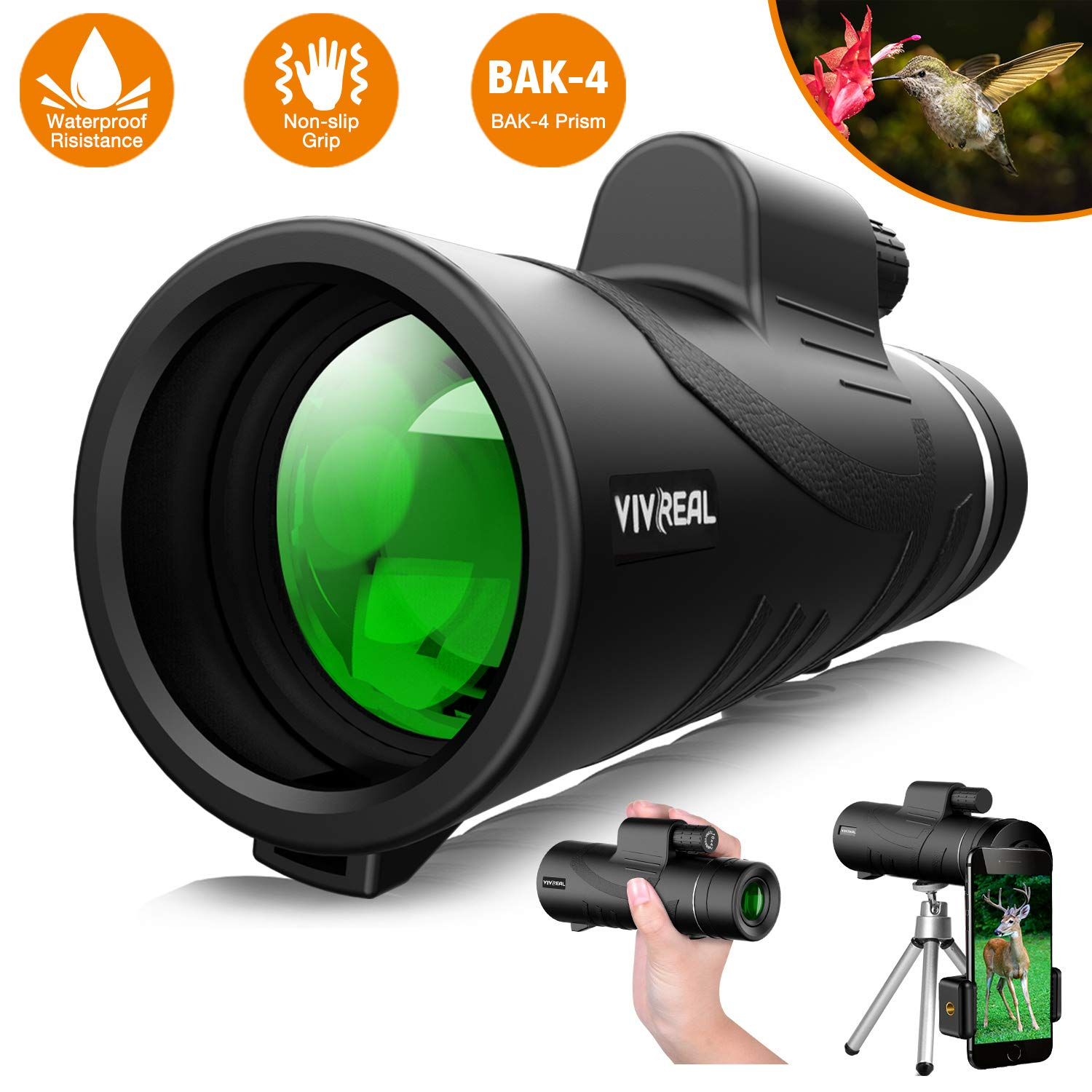 Monocular Telescope, 12X50 High Power HD Monocular with Smartphone Holder & Tripod - [2019 Newest] Waterproof Monocular with Durable and Clear FMC BAK4 Prism for Bird Watching, Camping, Hiking, Match by VIVREAL