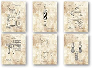 Barbers Chair, Shaving Stick Container, Razor Blade, Scissors, Shaving Brush Artwork - Set of 6 8 x 10 Unframed Patent Prints - Great Gift for Barber Shop Decor or Beauty Salon Wall