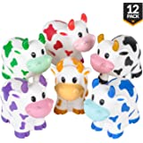Bedwina Colorful Rubber Cows (Pack of 12) Squeeze Squirt Water from The Mouth, Variety Colors Children Party Favors, Pool Bathtub Toy