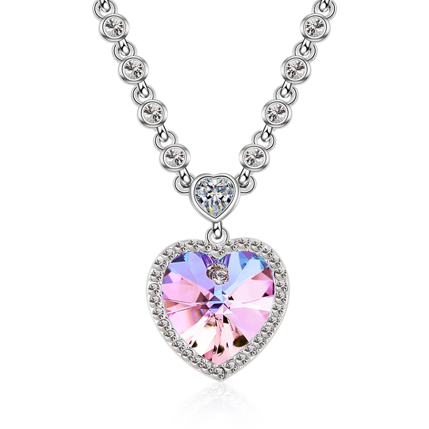F-U Ocean Heart Necklaces for Girlfriend Love You Purple Crystals Silver Plated Collar Necklaces