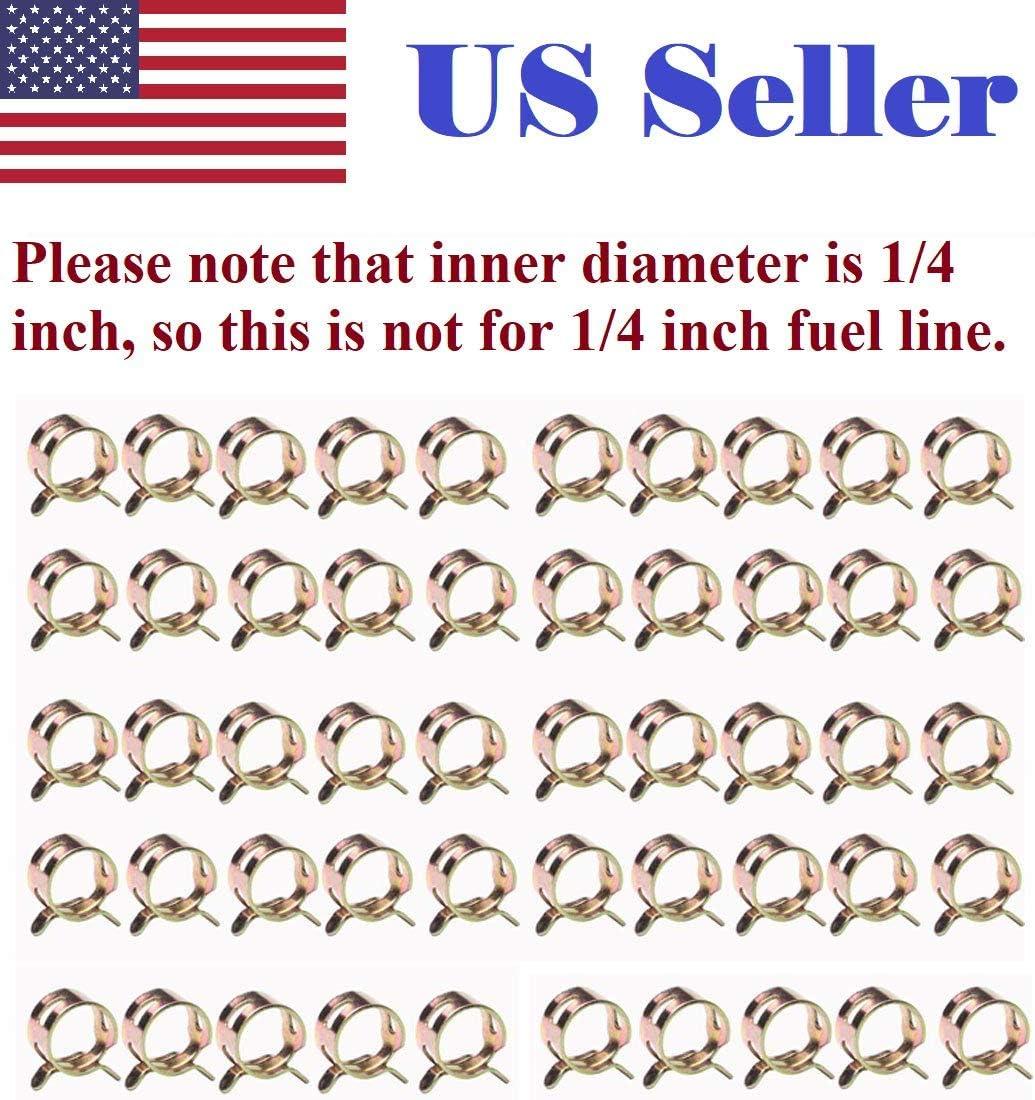 50pcs 1/4 6mm Spring clip Hose Clamp Fuel Oil Line Silicone Vacuum