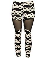 Sexy Comfortable Stretch Mesh Leggings w/ Black & White Triangle Design