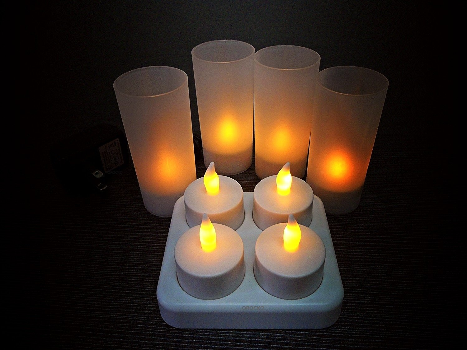 OROCKO Flameless Rechargeable Candles 4PCS Pack,Rechargeable LED Tealights Set,Battery Operated LED Tea light Candle,Long Lasting,Waxless,NO Fire Risk,Safety for Home,Restaurants and Hotel Decoration